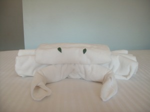 Sometimes you just need to stay in a place where they shape your towels into sea creatures.
